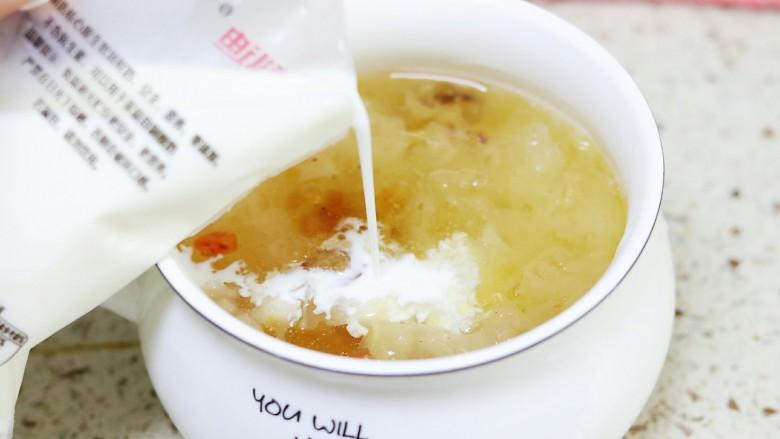 牛奶桃胶银耳燕窝羹,等汤放置温热的时候,倒入牛奶