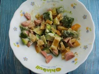 牛油果火腿肠小番茄沙拉,拌匀即可。