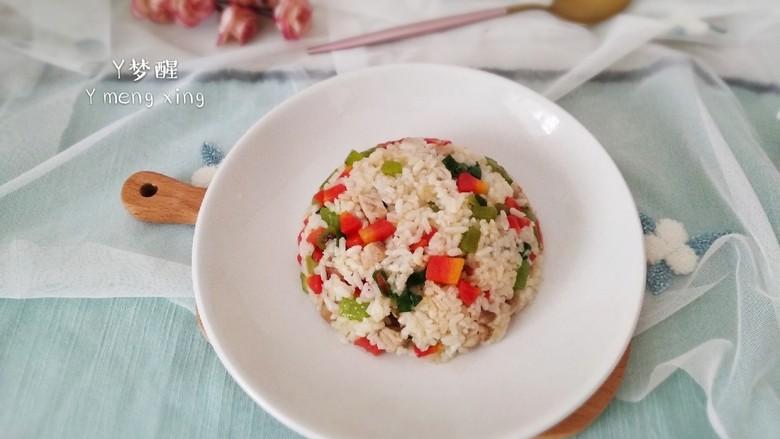 莴笋胡萝卜肉丁炒饭,出锅装盘