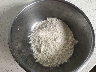 快手早餐饼~韭菜牛肉饼,准备好面粉倒入小盆