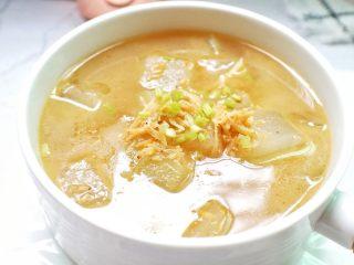 海米冬瓜汤,近看