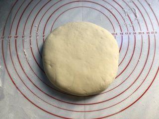 葱花花卷,取一份面团,揉成饼状