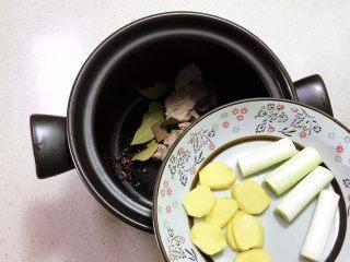 砂锅脊骨鲜藕汤,加入葱段和姜片