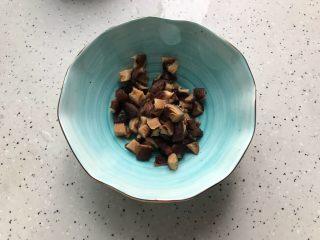 香菇青椒毛豆炒肉丁,泡发好的香菇去蒂洗净,轻轻挤干水分,切成丁