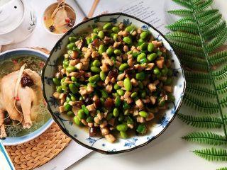 香菇青椒毛豆炒肉丁