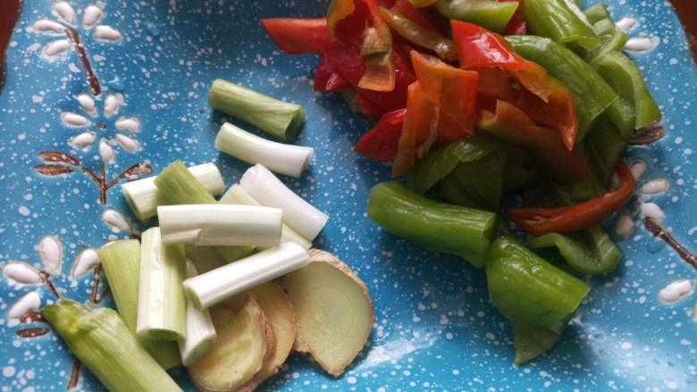 青椒肥肠,葱姜切片辣椒切片