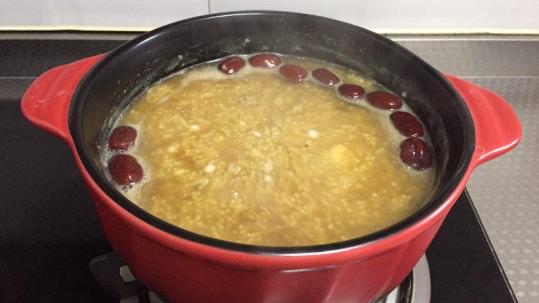 红糖山药粥,煮至红糖溶化即可