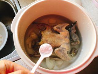 百合炖鸽子-滋补好汤,加入1勺半的盐。