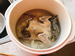百合炖鸽子-滋补好汤,倒入清水至差0.3厘米淹没鸽子肉为宜。