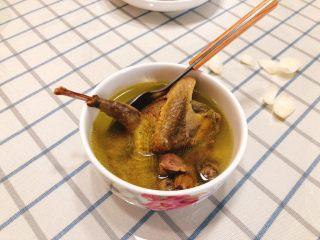 百合炖鸽子-滋补好汤,成品肉质柔嫩,稍微一撕就可撕出一片肉来。