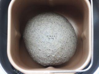 可爱的龙猫面包,将面团取出,取出面包机的和面搅拌棒,然后将面团收圆后重新放入面包机内桶,启动面包机的发酵功能,进行面团的一次发酵