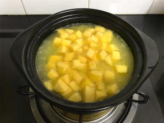 苹果小米粥,小米变浓稠后加入切成小粒的苹果。