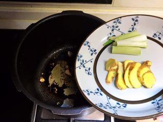 红油猪脸,加入大葱和姜片,炒出香味
