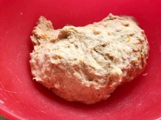 十味 葡萄干红薯发糕,5.然后加入适量的温水(约100-130克的水,具体要根据红薯的含水量定),揉成这种湿软的面团,盖上块湿布,饧上15分钟。