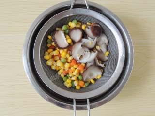 香菇培根披萨,焯完水的香菇和杂蔬粒倒出,沥干水分。可以直接放入烤箱将水分烘干一些。