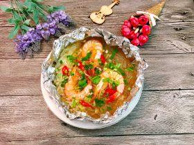 锡纸金针菇粉丝虾煲
