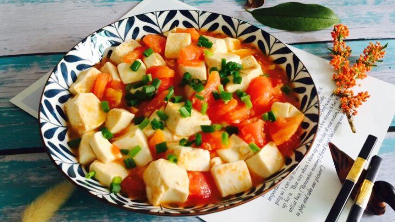 十味 西红柿烩豆腐,装盘撒葱花