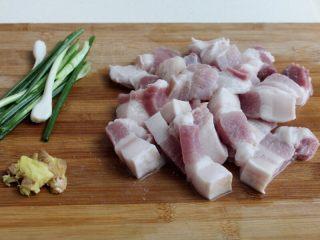 十味 红烧肉豆腐泡,五花肉切大块,葱切段,姜拍一下。