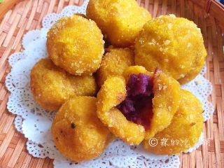 南瓜紫薯球,香香哒
