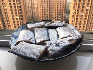 十味  香煎咸带鱼,放在阴凉通风处晾干一下