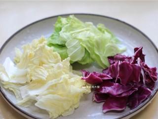 捞汁手撕拌菜,紫甘蓝,白菜,洋白菜洗净撕成小块,备用。