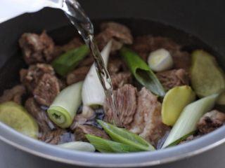 清炖牛肉萝卜汤,再倒入适量清水,上汽后压二十分钟