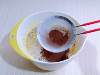可可玛格丽特饼干,将可可粉,玉米淀粉过细筛,