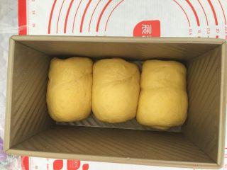 南瓜奶油吐司,放入吐司盒内。