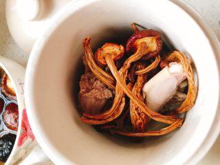 茶树菇水鸭汤,将茶树菇放到炖盅里。