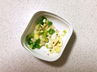 红油猪血豆腐,把大葱切成小段,蒜瓣切成小片
