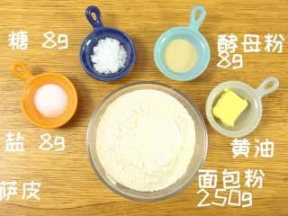 迷你披萨24m+辅食,披萨皮:高筋面粉  250g、黄油 12g、盐 4g、糖 7g、酵母 3g