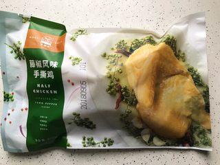 小青菜鸡架汤,藤椒风味手撕鸡半只