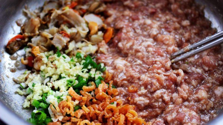圆白菜扇贝翠玉饺子,在搅拌好的肉馅里,加入金钩海米,扇贝肉和葱姜末,继续用筷子顺时针方向搅拌均匀。