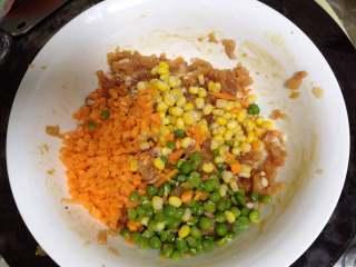 鸡肉玉米饼,加入胡萝卜、玉米粒、豌豆粒搅匀(还是不要搅打上劲)