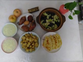 板栗排骨焖有机菜花,啦啦啦~开吃了。