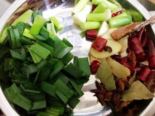 魔芋啤酒鸭,姜蒜切片,蒜苗切段,干辣椒干花椒八角桂皮香叶准备好
