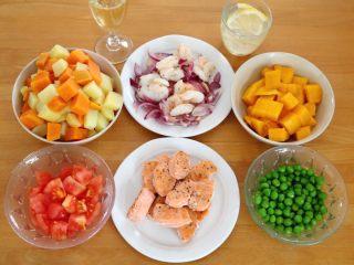 百变水果  三文魚虾仁芒果沙拉,这样三文鱼虾仁沙拉的材料全部处理完毕。