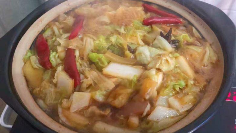 猪肉炖粉条,把煮开的<a style='color:red;display:inline-block;' href='/shicai/ 113'>大白菜</a>连同汤汁全部倒入砂锅,盖上盖子,中火炖20分钟。