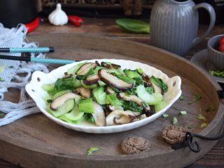香菇炒油菜,成品图。