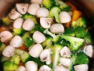 烤羊腿,准备好喜欢吃的蔬菜 我今天准备了 口蘑 西兰花 胡萝卜 土豆 南瓜 芹菜 果椒、蔬菜洗干净后 切块  锅里水烧开 加入一勺橄榄油 一大勺盐  再倒入蔬菜 焯水1分钟即可 烤箱200-220度预热