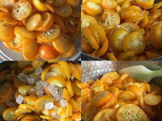 止咳化痰的金桔酱,腌制好了取出来放入不粘锅加入剩下的冰糖中小火熬煮,清水可以分两三次加