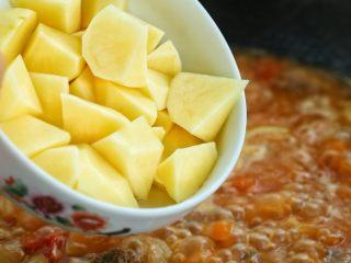 西红柿土豆炖牛肉,大火烧开后改中小火炖煮约四十分钟,加入土豆块再继续炖煮二十分钟。