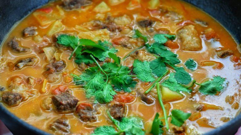 西红柿土豆炖牛肉,按照个人口味调入适量的盐,最后撒入香菜段关火即可。