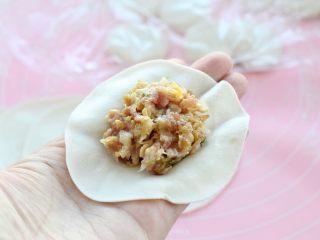东北猪肉酸菜馅饺子,取一张饼皮用左手托住,在中间放适量的馅料