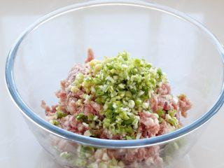 东北猪肉酸菜馅饺子,猪肉选择三肥七瘦的,剁成肉馅放入容器中,再加入切碎的葱、姜末