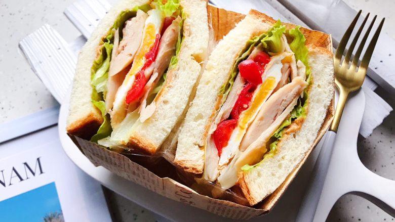 藤椒风味手撕鸡三明治,成品图