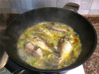 酸菜烧鲫鱼,放入鲫鱼煮5分钟。