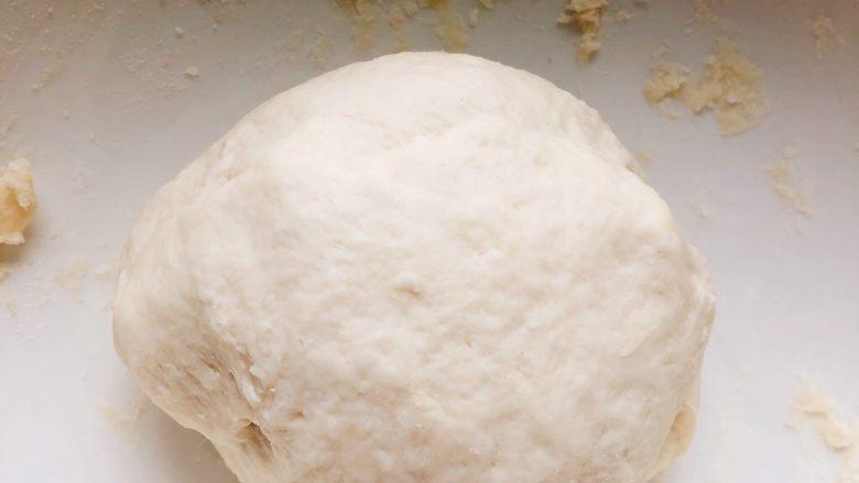 芝士培根披萨,将面块揉成光滑的面团。