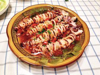 清蒸鱿鱼-下饭菜,成品图。