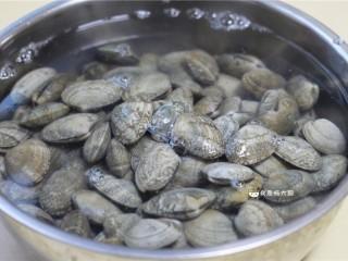 花蛤粥,花蛤提前半天放入清水中,水中放少许食盐,使其吐净泥沙。期间多换几次水。